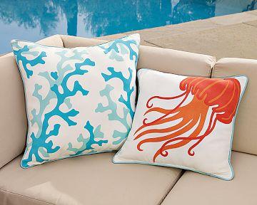 colorful beach themed coastal pillows cushions