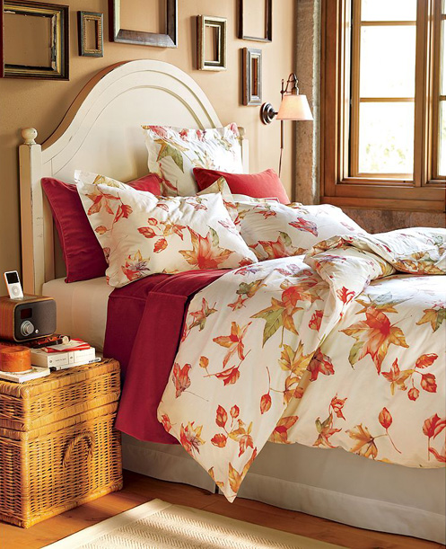 autumn fall leaf pattern bedsheets bedroom