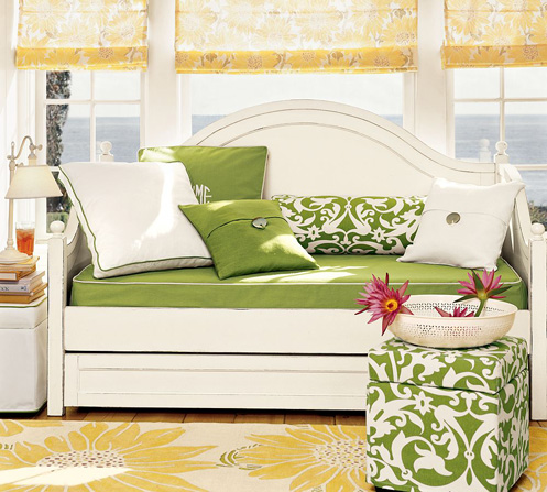 white yellow green daybed nook