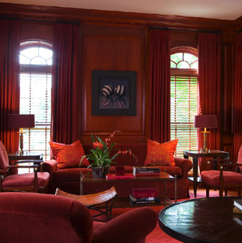 mahogany and red living room