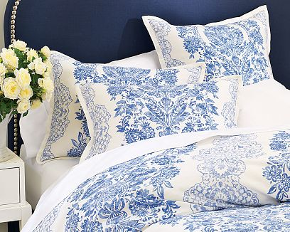 white and blue romantic country pattern bedsheets