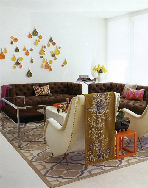 retro living room with wall art