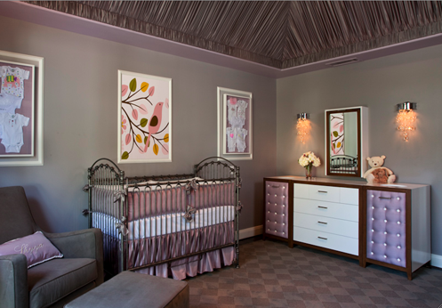 grey and purple glamorous baby nursery