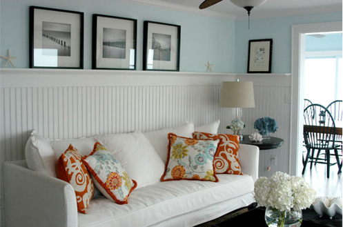 white blue orange coastal beachy living room