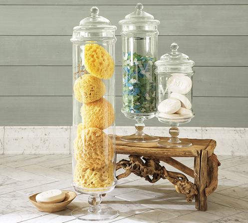 bathroom Apothecary Jars with sponge