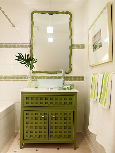 olive green and white tropical bathroom