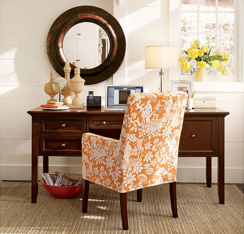 orange white autumn fall colored home office